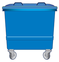 large blue bin for general waste