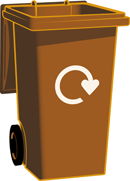 small brown bin for food waste recycling