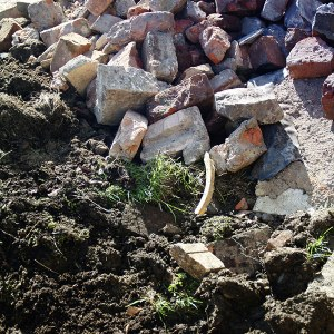 Building rubble, soil and bricks