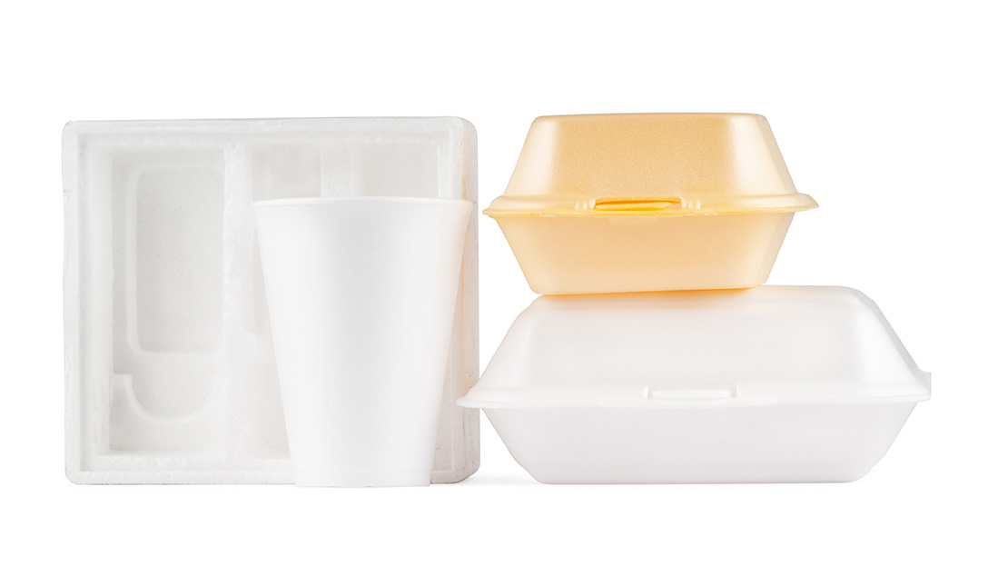 Polystyrene takeaway food packaging